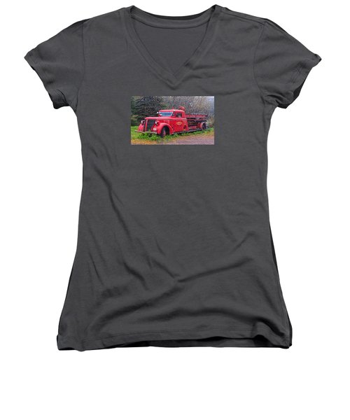 Women's V-Neck T-Shirt (Junior Cut) featuring the photograph American Foamite Firetruck2 by Susan Crossman Buscho