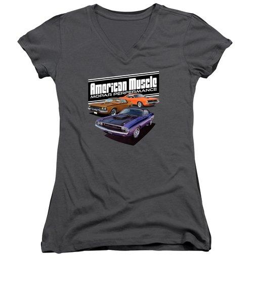 American Mopar Muscle Women's V-Neck T-Shirt