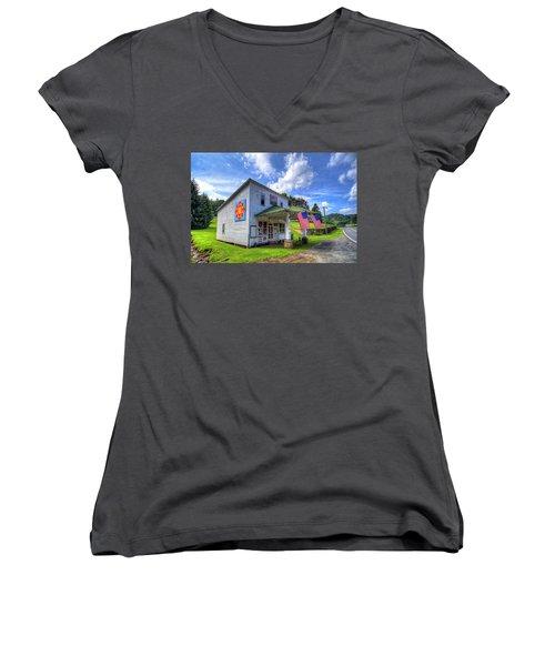 Americana Women's V-Neck T-Shirt (Junior Cut) by Dale R Carlson