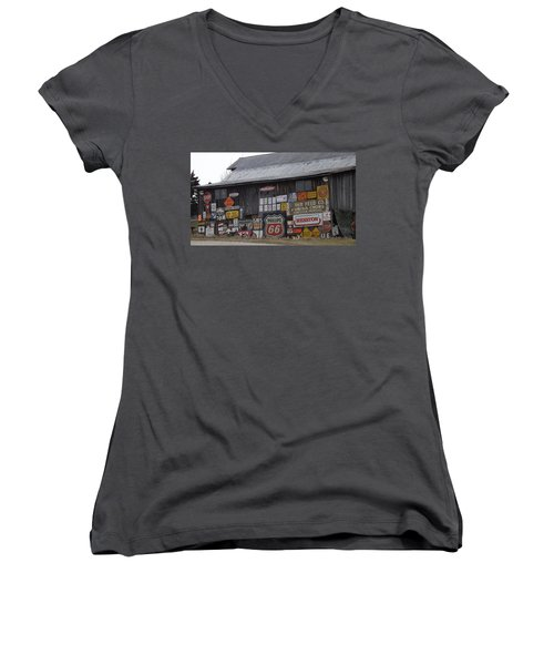 Americana Signs Women's V-Neck T-Shirt (Junior Cut) by Don Koester
