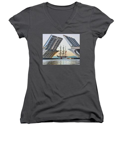 America's Tall Ship Women's V-Neck T-Shirt