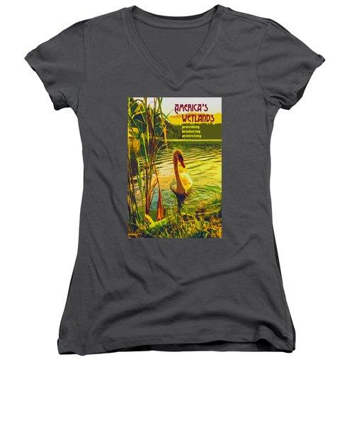Women's V-Neck T-Shirt (Junior Cut) featuring the digital art America's Wetlands by Chuck Mountain