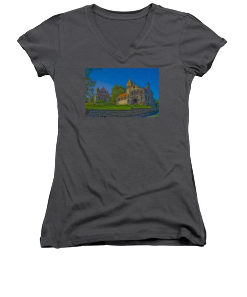 Ames Hall And Ames Free Library Women's V-Neck