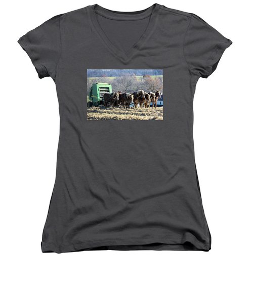 Amish Haymaker In Lancaster County, Pennsylvania Women's V-Neck (Athletic Fit)