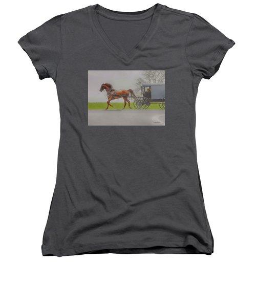 Amish Sunday Ride Women's V-Neck (Athletic Fit)