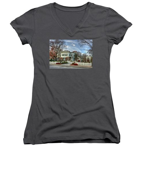 Amos Tuck House In Late Autumn Women's V-Neck