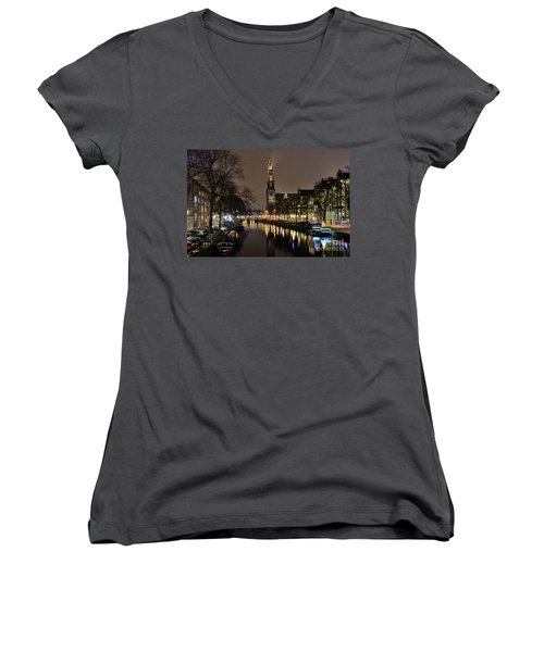 Amsterdam By Night - Prinsengracht Women's V-Neck