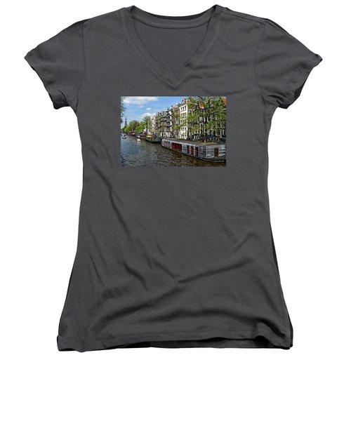 Amsterdam Canal Women's V-Neck T-Shirt (Junior Cut) by Anthony Dezenzio