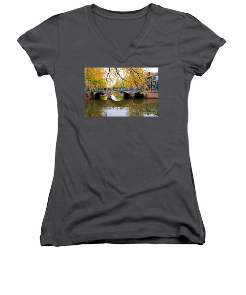 Amsterdam Canal Reflections Women's V-Neck