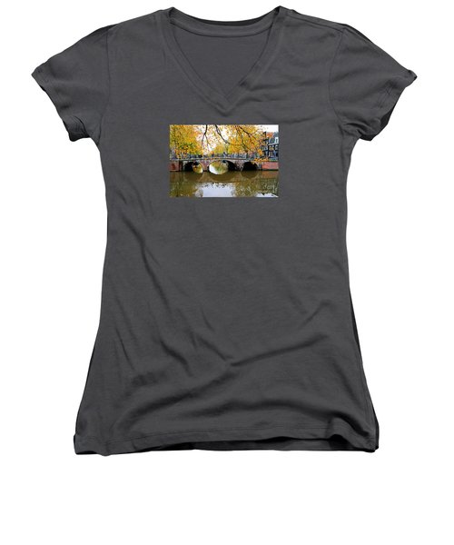 Amsterdam Canal Reflections Women's V-Neck T-Shirt