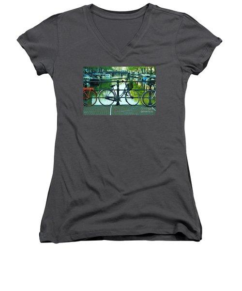 Women's V-Neck T-Shirt (Junior Cut) featuring the photograph Amsterdam Scene by Allen Beatty