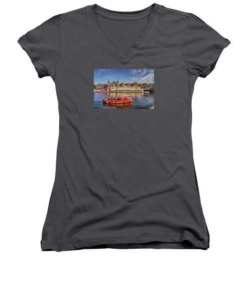 Women's V-Neck T-Shirt (Junior Cut) featuring the photograph Amsterdam Waterfront by Uri Baruch