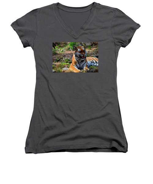 Women's V-Neck T-Shirt (Junior Cut) featuring the mixed media Amur Tiger 3 by Angelina Vick