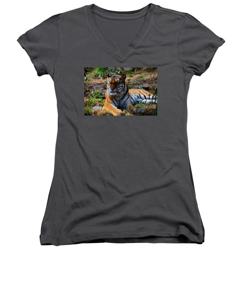 Women's V-Neck T-Shirt (Junior Cut) featuring the mixed media Amur Tiger 8 by Angelina Vick