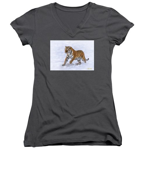 Women's V-Neck T-Shirt featuring the photograph Amur Tiger Running In Snow by Rikk Flohr