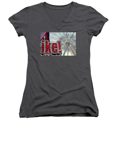 Women's V-Neck T-Shirt (Junior Cut) featuring the photograph Amusement by Valentino Visentini