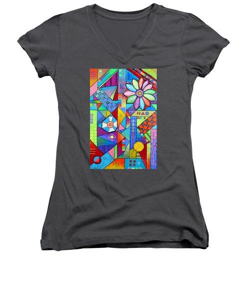 An All Seeing Eye Women's V-Neck T-Shirt (Junior Cut) by Jeremy Aiyadurai