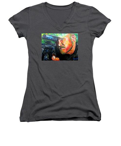 An American Hero Women's V-Neck T-Shirt (Junior Cut) by Ken Pridgeon