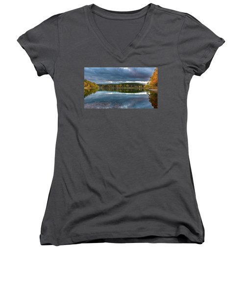 An Autumn Evening At The Lake Women's V-Neck T-Shirt (Junior Cut) by Andreas Levi