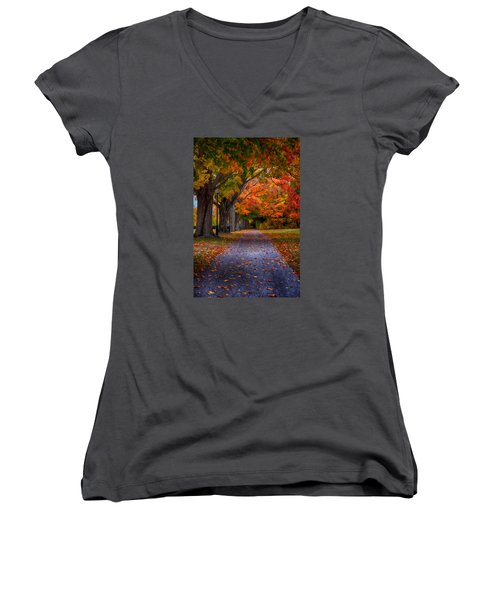 An Autumn Walk Women's V-Neck T-Shirt (Junior Cut) by Tricia Marchlik