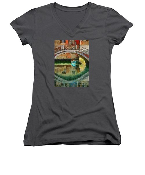 An Early Morning In Venice Women's V-Neck T-Shirt (Junior Cut) by Dragica  Micki Fortuna