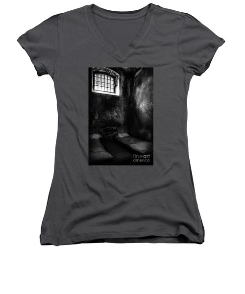 Women's V-Neck T-Shirt (Junior Cut) featuring the photograph An Empty Cell In Old Cork City Gaol by RicardMN Photography