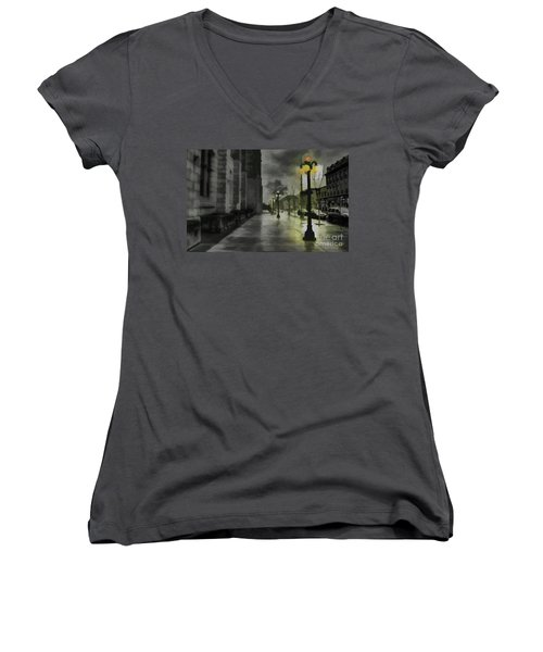 Women's V-Neck T-Shirt (Junior Cut) featuring the mixed media An Evening In Paris by Jim  Hatch