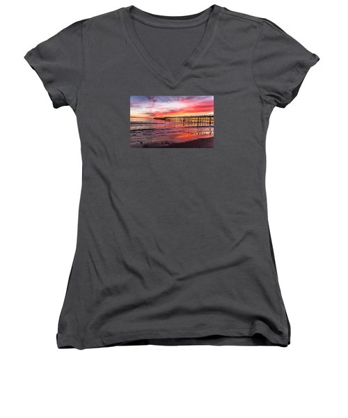 Women's V-Neck T-Shirt (Junior Cut) featuring the photograph Seacliff Sunset by Lora Lee Chapman