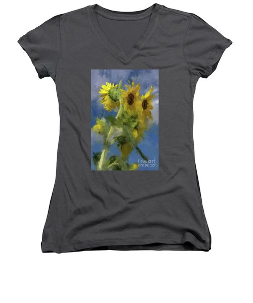 Women's V-Neck T-Shirt (Junior Cut) featuring the photograph An Impression Of Sunflowers In The Sun by Lois Bryan