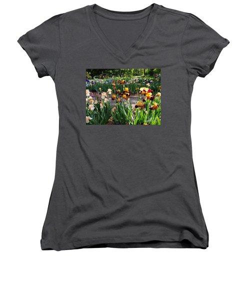 An Iris Party Women's V-Neck T-Shirt (Junior Cut) by Nancy Kane Chapman