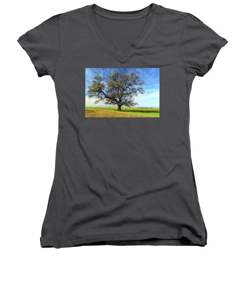 Women's V-Neck T-Shirt featuring the photograph An Oak In Spring by James Eddy