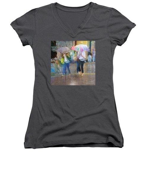 Women's V-Neck T-Shirt (Junior Cut) featuring the photograph An Odd Sharp Shower by LemonArt Photography