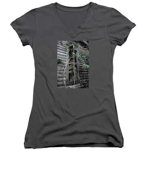 An Old Shuttered Window Women's V-Neck T-Shirt (Junior Cut) by Lynn Jordan
