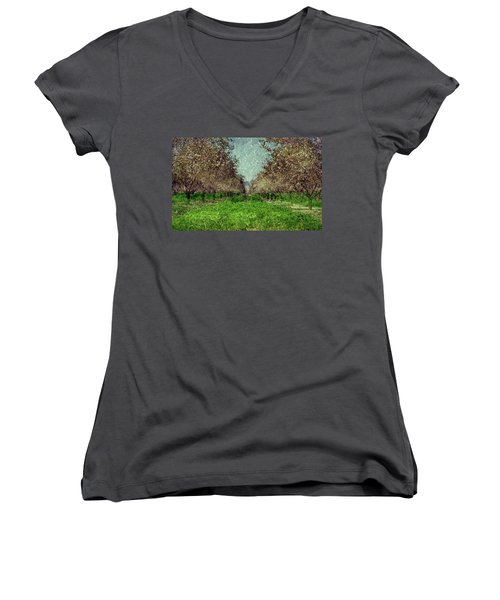 An Orchard In Blossom In The Eila Valley Women's V-Neck