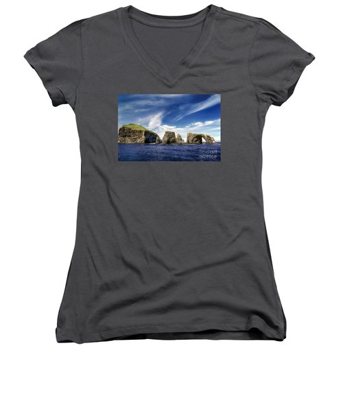 Channel Islands National Park - Anacapa Island Women's V-Neck T-Shirt (Junior Cut) by John A Rodriguez