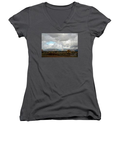 Anaconda Range Women's V-Neck T-Shirt (Junior Cut) by Cindy Murphy - NightVisions