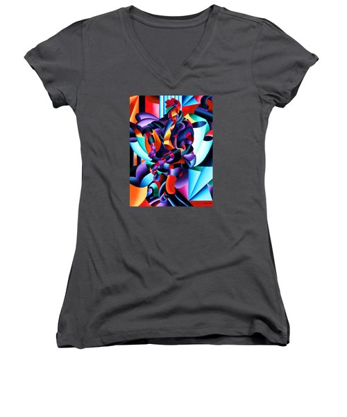 Women's V-Neck T-Shirt (Junior Cut) featuring the painting Anamorphosis From The Outside In by Mark Webster