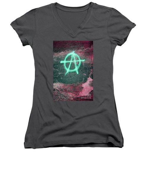 Anarchy In Tallinn Women's V-Neck T-Shirt (Junior Cut) by Todd Breitling
