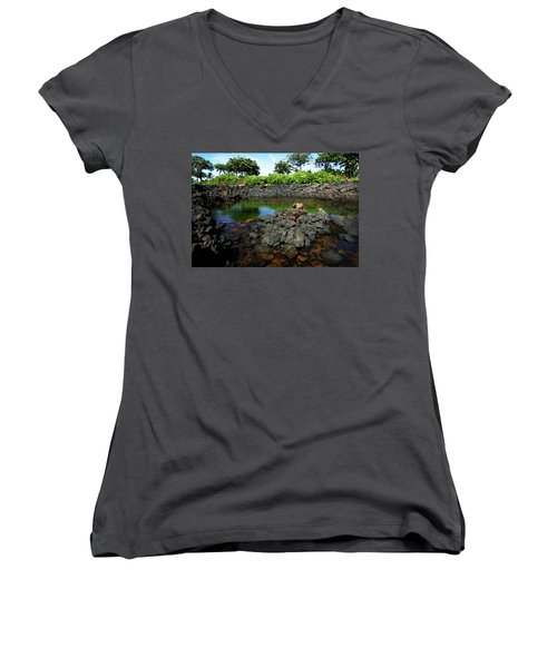 Women's V-Neck T-Shirt (Junior Cut) featuring the photograph Anchialine Pond by Anthony Jones
