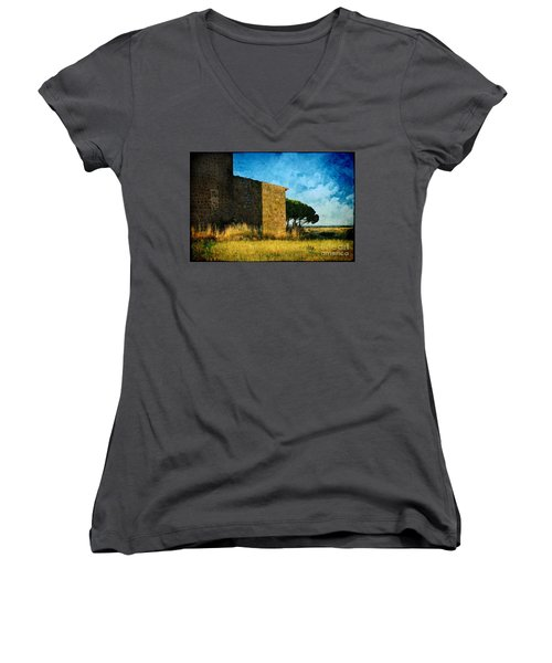 Ancient Church - Italy Women's V-Neck (Athletic Fit)