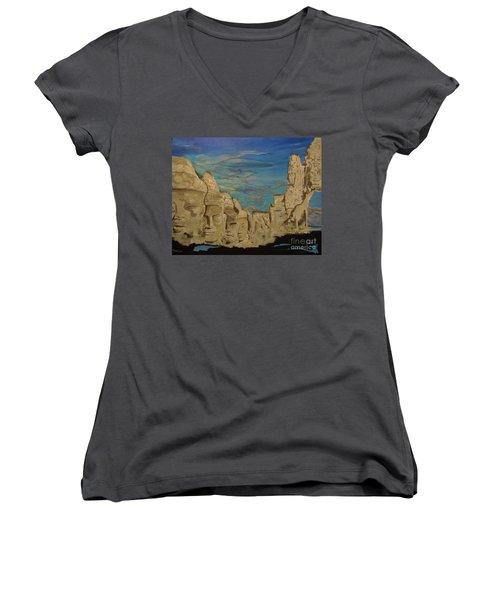 Ancient Clouds Women's V-Neck T-Shirt (Junior Cut) by Stuart Engel