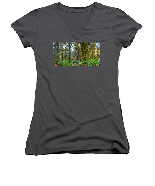 Ancient Forest Panorama Women's V-Neck (Athletic Fit)