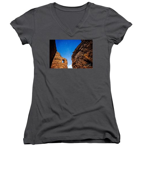 Ancient Native American Pueblo Ruins And Stars At Night Women's V-Neck T-Shirt