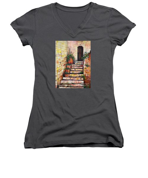 Ancient Stairway Women's V-Neck T-Shirt (Junior Cut) by Lou Ann Bagnall