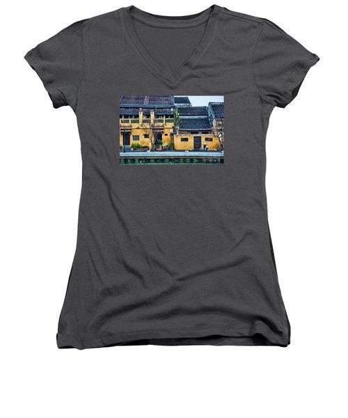 Ancient Town Hoi An Women's V-Neck T-Shirt (Junior Cut) by Chuck Kuhn
