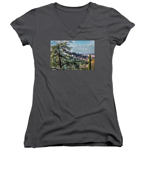 Women's V-Neck T-Shirt (Junior Cut) featuring the photograph Ancient Walls Of Florence by Sonny Marcyan
