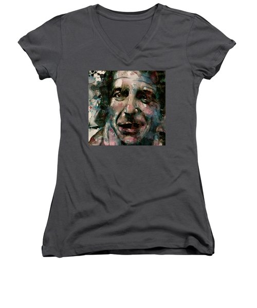 Women's V-Neck T-Shirt (Junior Cut) featuring the painting And She Feeds You Tea And Oranges That Come All The Way From China  by Paul Lovering