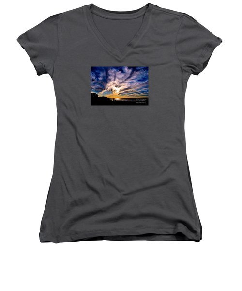 Women's V-Neck T-Shirt (Junior Cut) featuring the photograph And Then There Was God by Margie Amberge