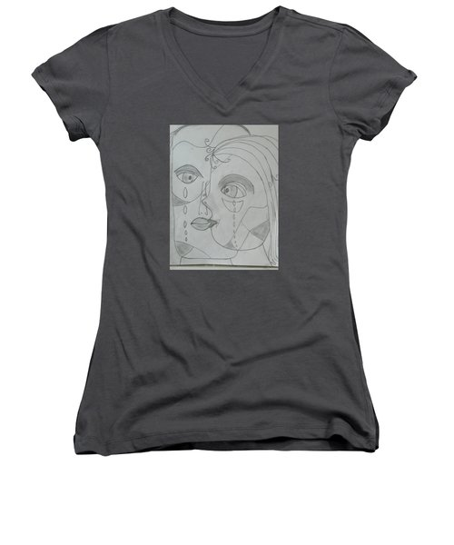 And Then They Parted Women's V-Neck T-Shirt (Junior Cut) by Sharyn Winters
