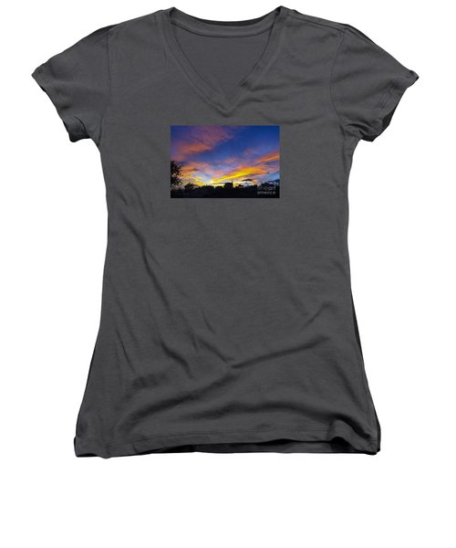 Andalusian Sunset Women's V-Neck T-Shirt (Junior Cut) by Perry Van Munster